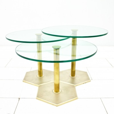 Brass & Glass Side Tables, 1970s