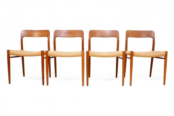 Model 75 Dining Chairs in Teak by J L Moller