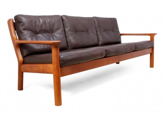 Mid Century Sofa in Teak & Leather by Glostrop