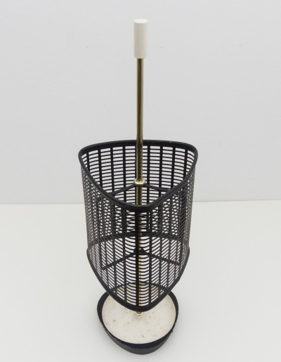 1950s Italian umbrella stand in brass, perforated metal & cast iron