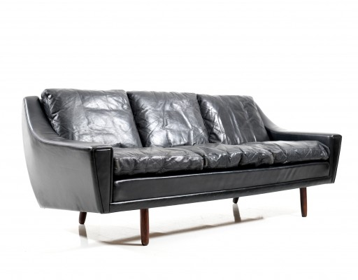 Georg Thams black Leather Three-Seater Sofa, 1960s