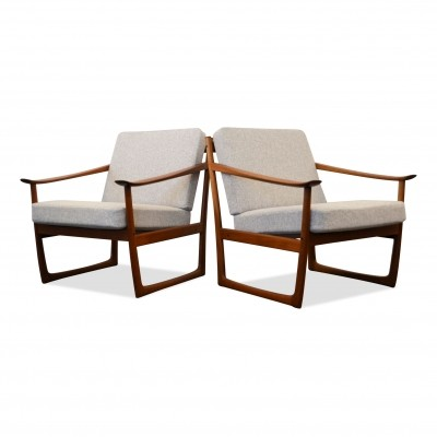 Set of 2 Peter Hvidt & Orla Molgaard Model FD-130 teak lounge chairs