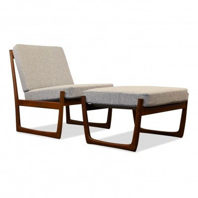Peter Hvidt & Orla Mølgaard teak Model FD-130 lounge chair & footstool