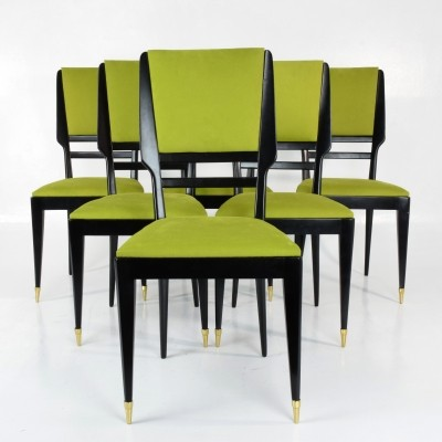 Set of 6 Italian Mid-Century Dining Chairs, 1950's
