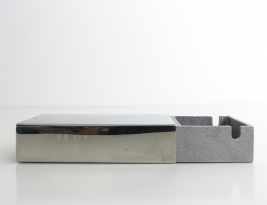 Cipro steel double ashtray by Bruno Munari for Danese, 1974