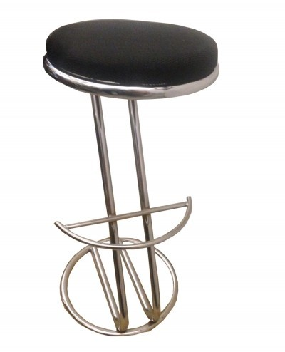 1970s Steel stool with black fabric seat