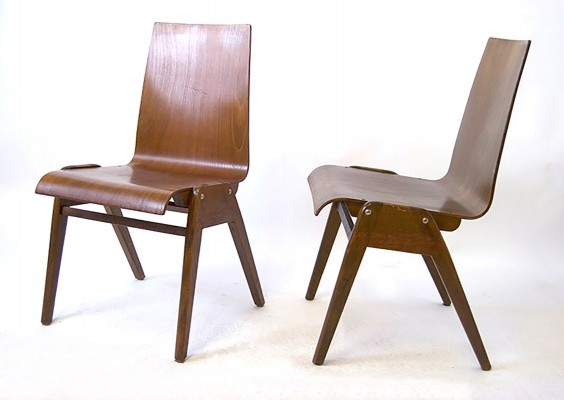 4x German Wood Chairs produced for Heidelberger Schlossquell Brauerei, 1940s
