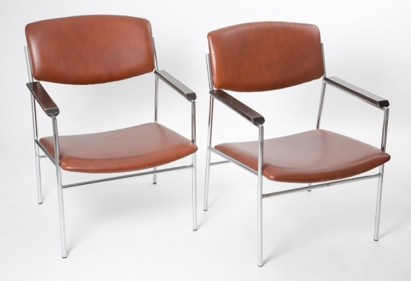 Set of Cognac leather Nr 60 armchairs by Gijs van der Sluis for Gelderland, 1970s