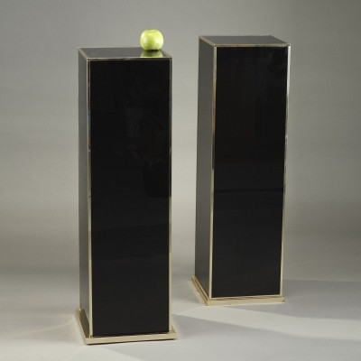 Pair of Black Melamine & Laminate Columns, 1980s