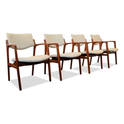 Set of 4 Danish design teak armrest chairs by Finn Haugaard for Brondo Gravesen