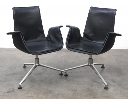 Pair of FK6727 Tulip lounge chairs by Jørgen Kastholm & Preben Fabricius for Kill International, 1960s