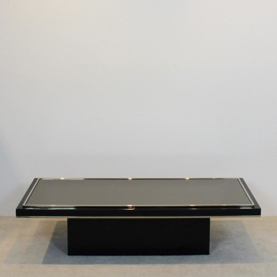 Roger Vanhevel Black & Brass Mirrored Glass Coffee table