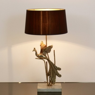 Gilt Metal on Travertine Peacock Lamp