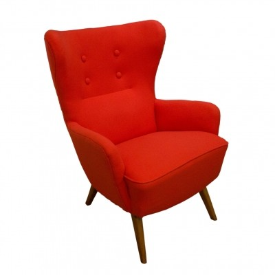 Danish red wing-back armchair, 1970s