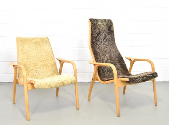Set of 2 Lamino sheepskin lounge chairs by Yngve Ekström for Swedese, 1960s
