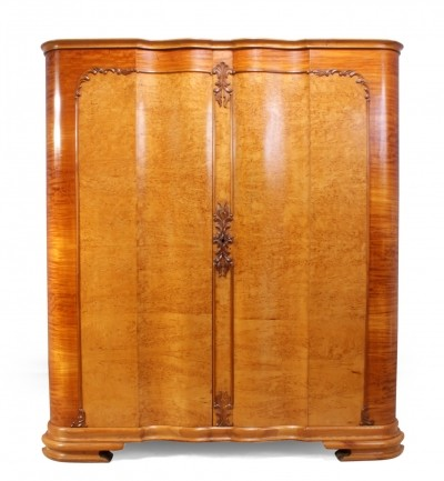 Italian Art Deco Linen Press in karelian Birch