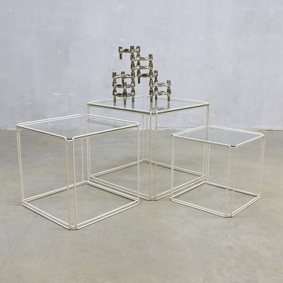Pair of Isocele nesting tables by Max Sauze for Max Sauze Studio, 1970s