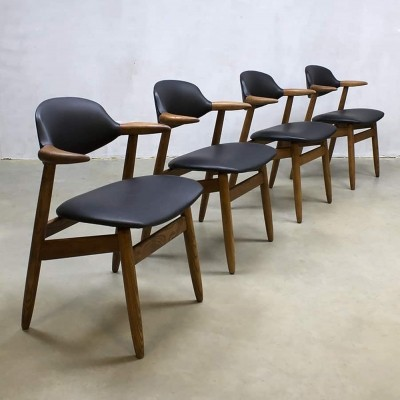 Set of 4 Cowhorn dinner chairs by Hulmefa, 1950s