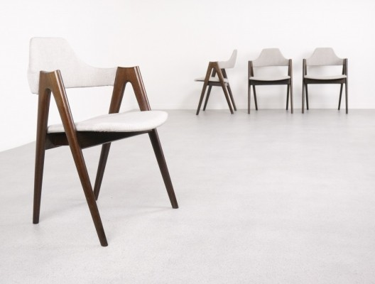 Set of 4 Compass dining chairs by Kai Kristiansen for Schou Andersen Møbelfabrik, 1960s