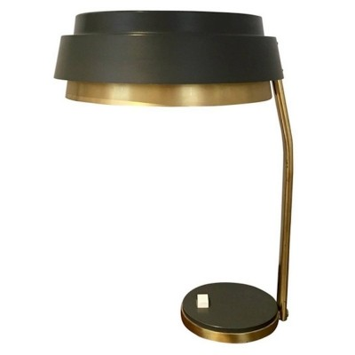 Brass & Grey Colored Metal Table Lamp