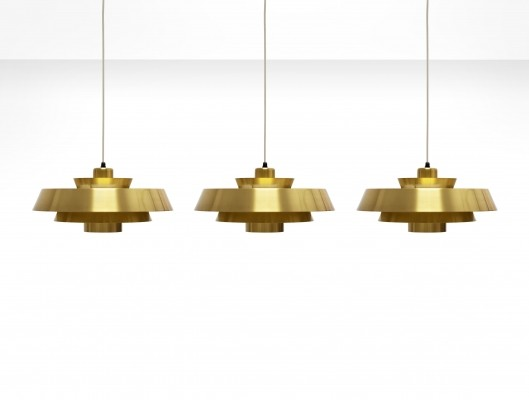 3x Jo Hammerborg 'Nova' Pendant Lights in Brass for Fog & Mørup, Denmark 1960s