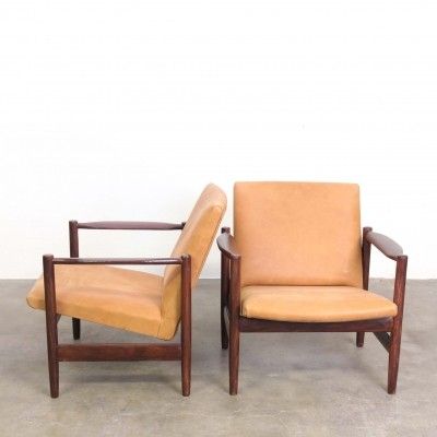 Pair of leather armchairs, 1960s