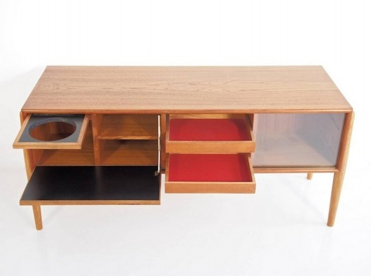 Teak & Oak Console with Glass Sliding Doors