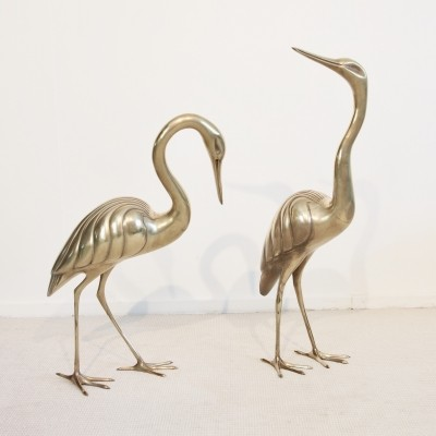 Vintage pair of Hollywood Regency brass cranes