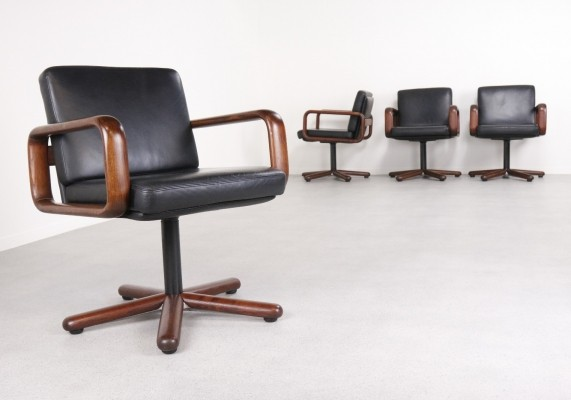 Rare set of 4 'Hombre' swivel chairs by Burkhard Vogtherr for Rosenthal, 1970s