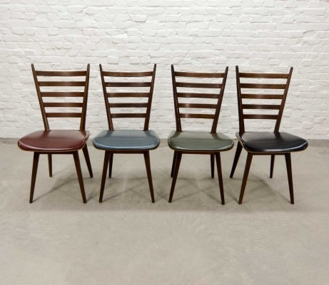 'Quattro Colori' Teak & Leatherette Dining Chairs by Cees Braakman for Pastoe