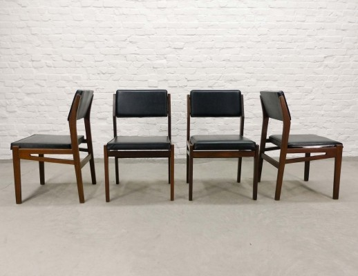 Set of Four Teak Wood & Black Leatherette Dining Chairs by Topform, 1960s