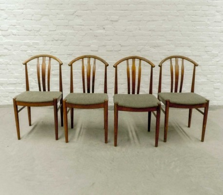 Set of Four Swedish Oak Wood Olive Green Dining Chairs, 1960s