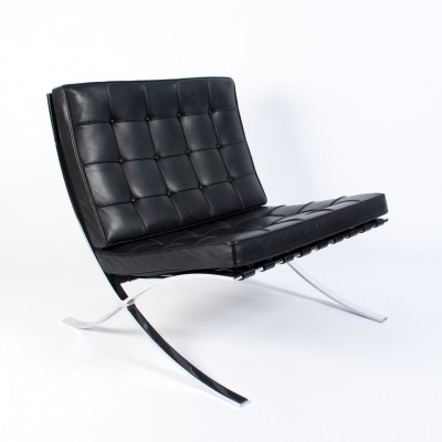 Black Leather Barcelona Lounge Chair By Ludwig Mies Van Der Rohe For Knoll,  1997
