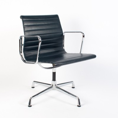 4x Blue Leather 'EA 108' Arm Chair by Charles & Ray Eames for Vitra, 1994