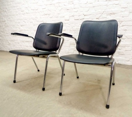 Set of Chrome & Black Leatherette Armchairs by Martin de Wit for Gispen, 1960s