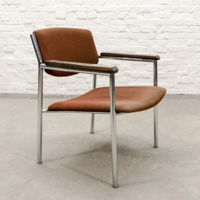 Chrome & Duo Tone Fabric Side Chair by Gijs van der Sluis, 1960s