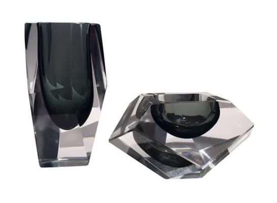Flavio Poli Murano Glass Vase & Ashtray Set
