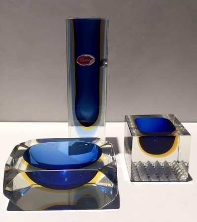 Set of Flavio Poli Murano Glass Vase, Ashtray & Soap Dish