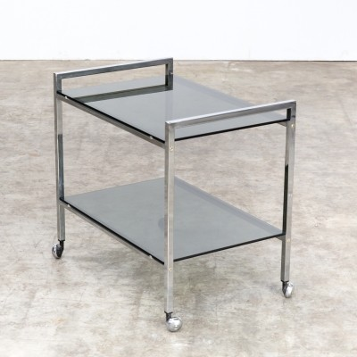 Mid century metal & glass serving trolley