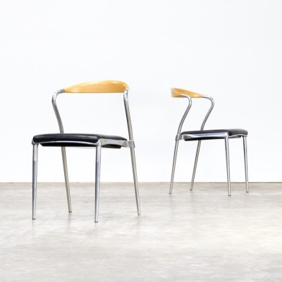 Pair of Luigi Origlia 'piuma' design chairs for Origlia Italy