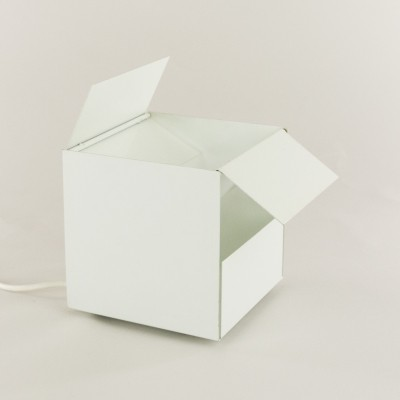 3H white metal cube table lamp by Paolo Tilche for Sirrah, 1970s