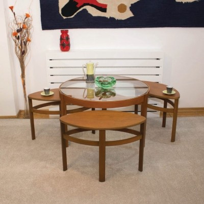 Model 5614 – shades teak, glass top – Trinity nest from Nathan, 1960s