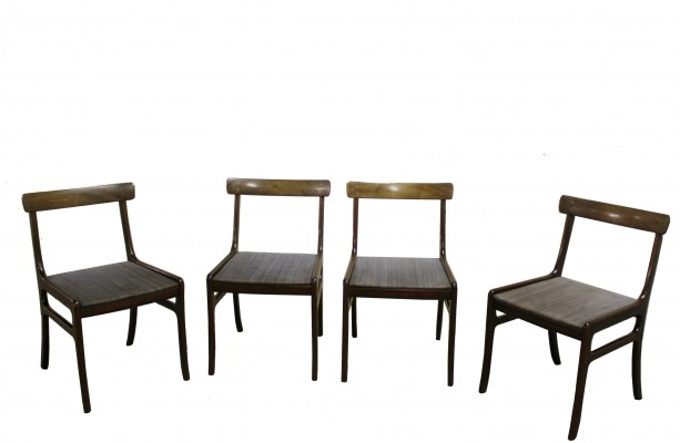 Set of 4 Mahogany Rungstedlund Chairs by Ole Wanscher for Poul Jeppesen, 1960s