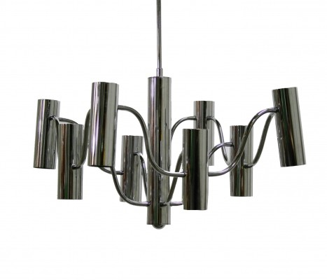 Mid century chrome chandelier by Gaetano Sciolari for Boulanger, 1970s
