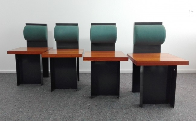 Set of 4 Architectural Dinner Chairs, 1990's