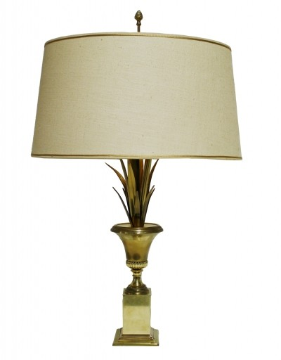 Brass pineapple leaf table lamp by Boulanger, 1960s