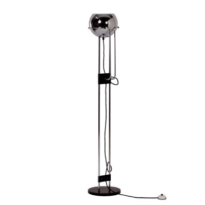 Vintage Floor Lamp with Chrome Sphere, 1970s