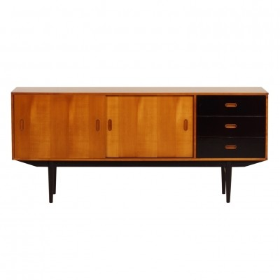 Pinewood Sideboard with Black Drawers by Fristho, 1950s