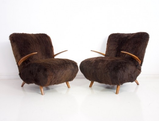 Pair of Armchairs Padded with Brown Sheepskin