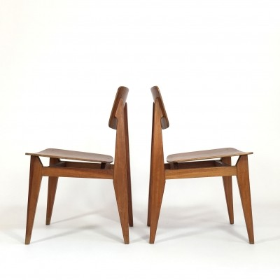 Pair of CD dining chairs by Marcel Gascoin for ARHEC, 1950s